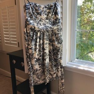 ModCloth Black and White Toile Strapless Dress